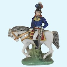 "2 1/2"" Kister Sheibe Alsbach Porcelain Napoleonic French Toy Soldier for Antique Doll"