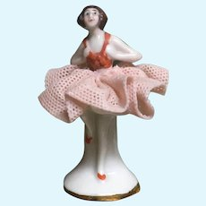 "1 5/8"" Dollhouse Miniature Antique Dresden Ballerina Figurine Made in Germany"