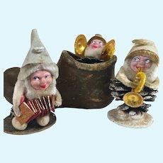 Vintage Elf Gnome Pinecone Dolls in Elf Shoe