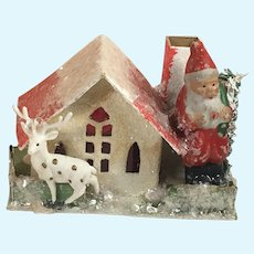 "2 3/4"" Bisque Antique Santa Doll and Cottage"