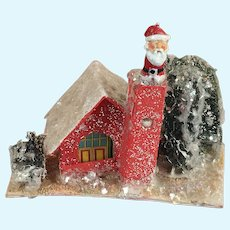 Vintage Metal Santa Doll in Christmas Cottage Scene