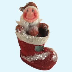 Vintage Flocked Santa Doll in Flocked Boot