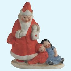Antique German Hertwig All Bisque Rare Santa Figure with Children