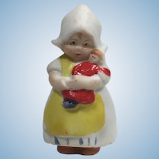 "Precious 1 5/8"" Tiny Miniature Lilliputian Bisque Doll with Baby Doll Germany c. 1900"