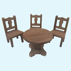 Schneegas Vintage Dollhouse Wooden Table and Chairs