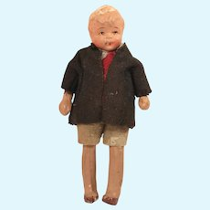 Vintage All Bisque Jointed Dollhouse Boy Doll All Original Clothing!