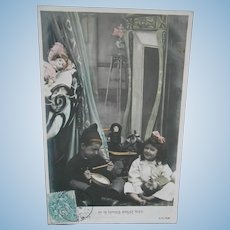 **Authentic French 1909 photo postcard **soft coloring***