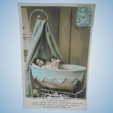 **A authentic French photo postcard..sleeping child with doll***1909