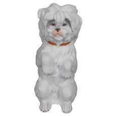 Cute heubach white dog, all bisque.