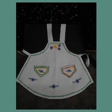 **Old cotton hand embroidered apron**