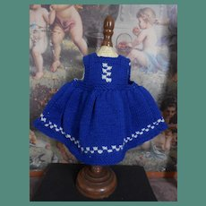 Lovely blue/white hand knitted small dress approx 1950