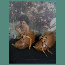 Rare authentic French wooden shoes approx 1890-1900