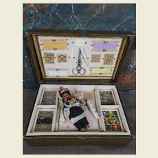 Fabulous small presentation box with ethnic doll /sewing/embroidery /bead box.