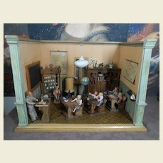 Amazing School ! complete with dolls, furniture and accessories. approx 1900.