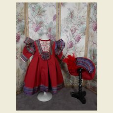 ***Beautiful red Costume..Dress and matching hat****
