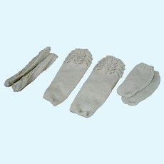 **Three pair of hand knitted stockings***