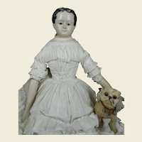 """**32"""" Early paper machee doll with glass eyes and wooden arms****"""