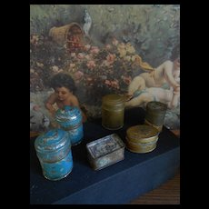 **six pieces antique miniature  tin canister..Dollhouse / doll room Kitchen...