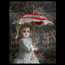 **Small size red/creme French doll Parasol****