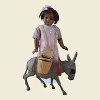 ******Antique celluloid donkey with baskets ****