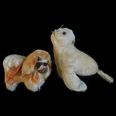 Two Steiff animal...adorable...a doggie and a seal...