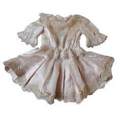 **An authentic silk, soft pink French dress** approx 1890.