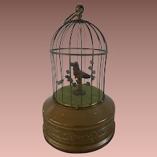**Automaton Singing Bird in cage Music box**approx 1915-1920