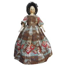 An early beautiful Grodnertal / Peg doll 8,4 inches.