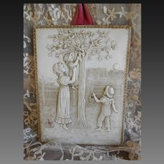"**Amazing Victorian celluloid image with mother and children ""Cherry picking"".***"