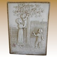 """**Amazing Victorian celluloid image with mother and children """"Cherry picking"""".***"""