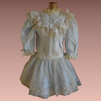 ***Gorgeous light blue dress with beautiful antique embroidered lace****
