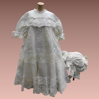 ***Very rare French lace child dress and hat*** around 1890
