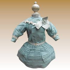 **Authentic French fine blue/green cotton dress***approx 1890