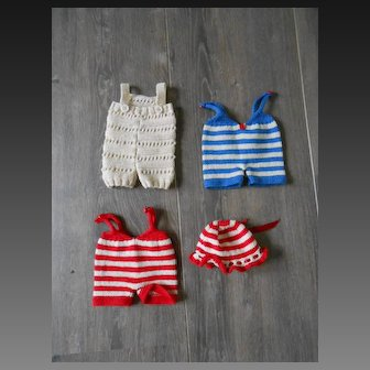 **Three hand knitted pants/jump suite and a matching bonnet***