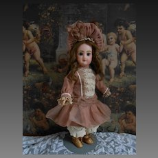 Superb Costume for a cabinet size doll..Handmade of antique fabrics...