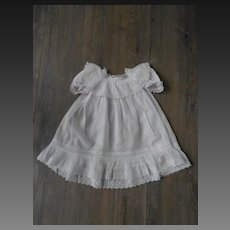 Authentic fine white cotton dress, suitable for a large doll !