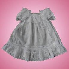 Authentic fine white cotton dress, suitable for a large doll !