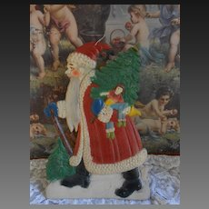 ***Large antique set-up stamped cardboard Santa Claus*****