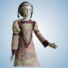 ****Very elegant early wooden doll approx 1840***