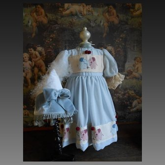 ***Lovely hand embroidered light blue dress with matching cute hat***