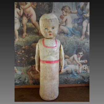 **Very rare early  Swaddling baby, paper mache 13,5 inches**