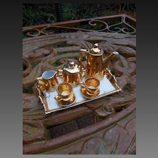 """Antique miniature  """"TEA for TWO"""" dolls TEA SET and Tray approx 1900-1920"""