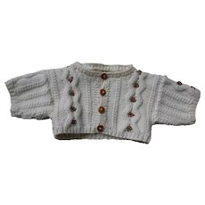 ***A hand knitted CARDIGAN with embroidered flowers***for a bear.....