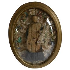 ******Beautiful French wax creche figure with child***in dome frame, approx 1900 - Red Tag Sale Item