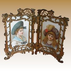 ***Gorgeous French antique double Photo frame with beautiful lithographic images of children****