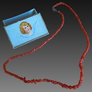 **Antique dolls necklace for your doll...approx 1900, red coral.