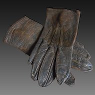 **an Antique pair of leather gloves** approx 1890.