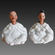 **Very rare miniature Nodder Chinese bisque figurines***approx 1890, nodding heads...