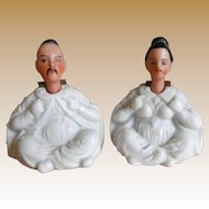 **Very rare miniature Nodder Chinese bisque figurines***approx 1890, nodding heads...