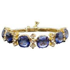 Art Deco 56.5CTW Blue Sapphire & 2.7CTW White Sapphire 18K Bracelet, 35.9g
